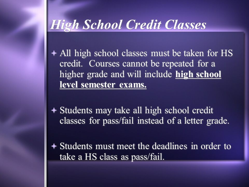 High School Credit Classes