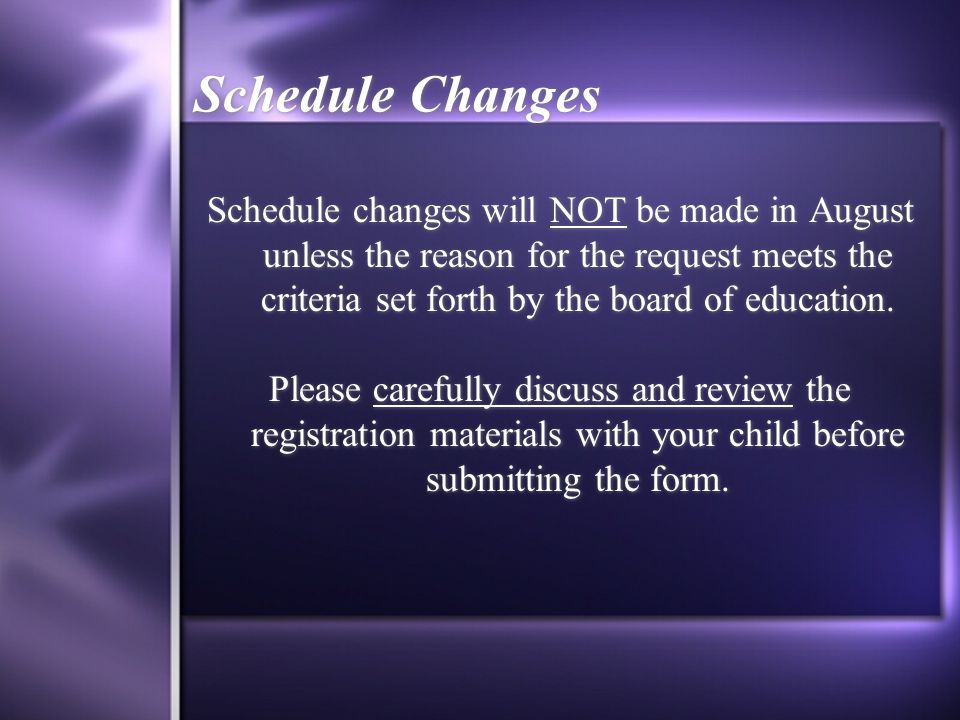 Schedule Changes