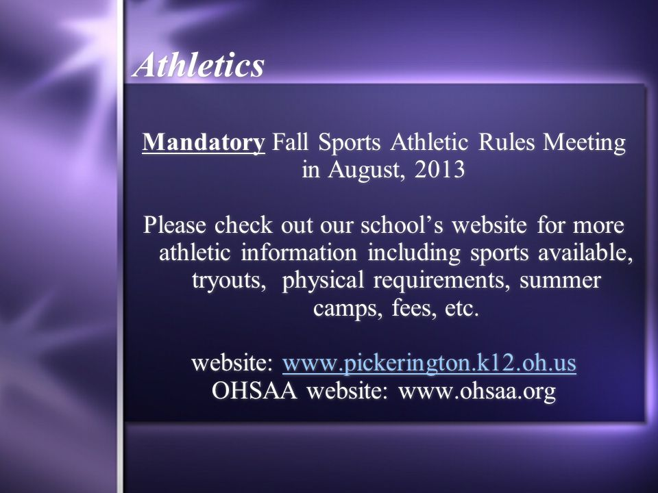 Athletics Mandatory Fall Sports Athletic Rules Meeting in August, 2013