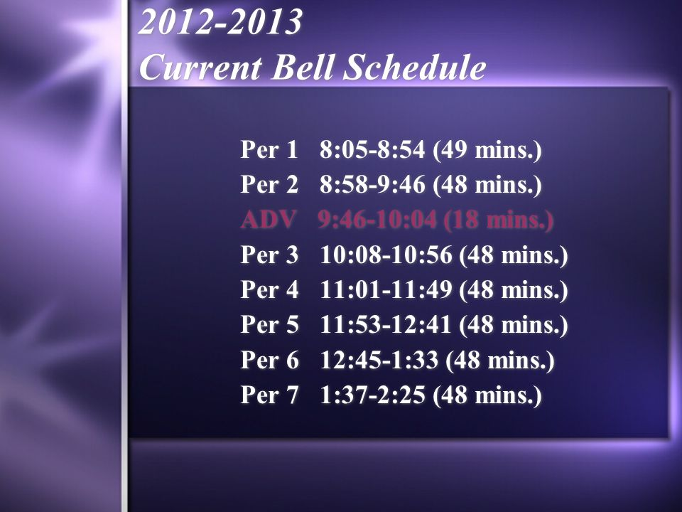 2012-2013 Current Bell Schedule