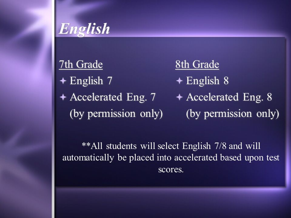 English 7th Grade English 7 Accelerated Eng. 7 (by permission only)