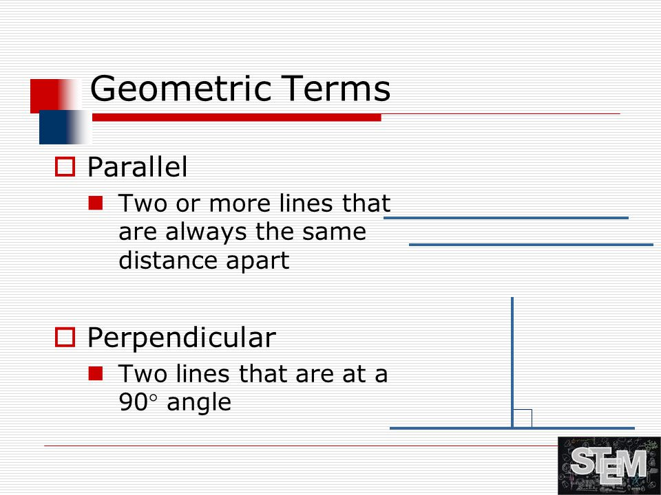 Geometric Terms Parallel Perpendicular