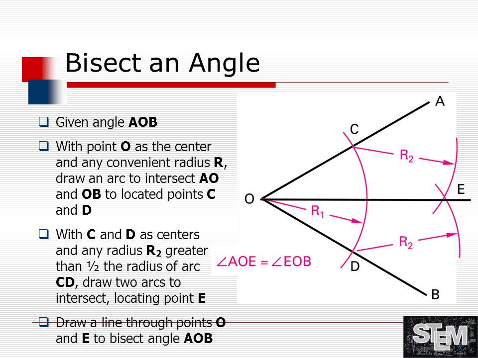 Bisect an Angle Given angle AOB