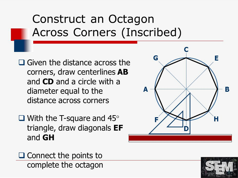 Construct an Octagon Across Corners (Inscribed)