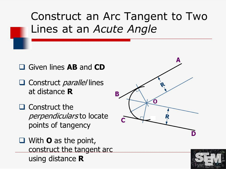 Construct an Arc Tangent to Two Lines at an Acute Angle