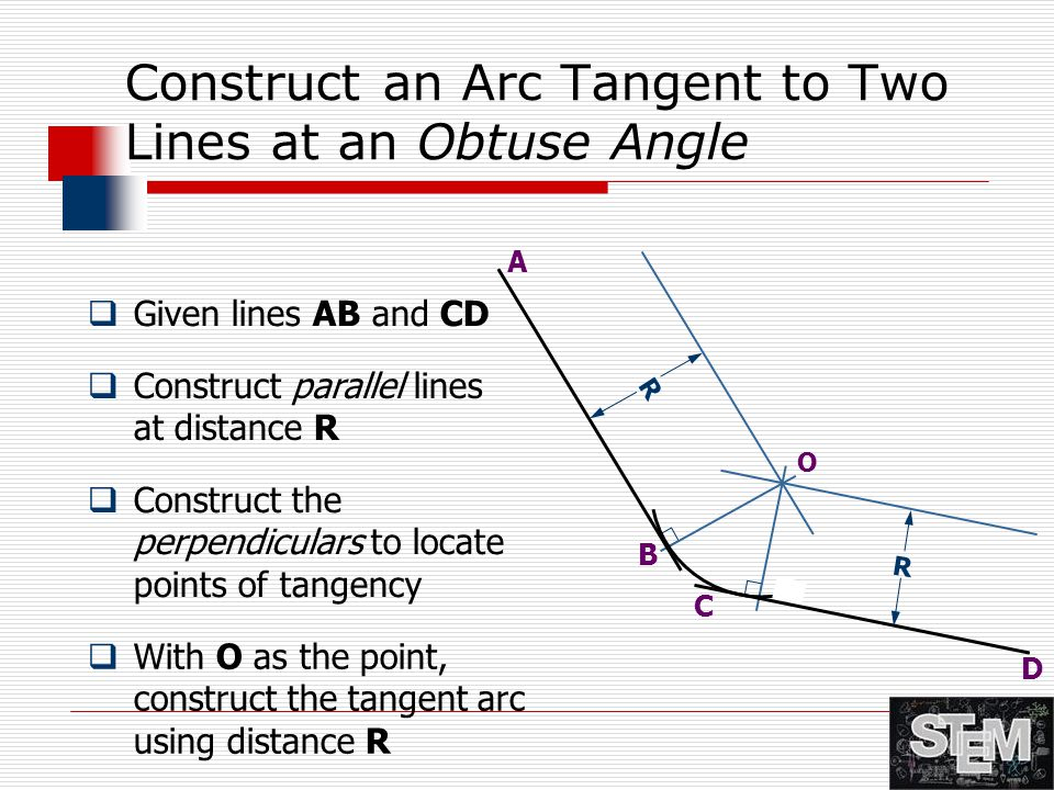 Construct an Arc Tangent to Two Lines at an Obtuse Angle