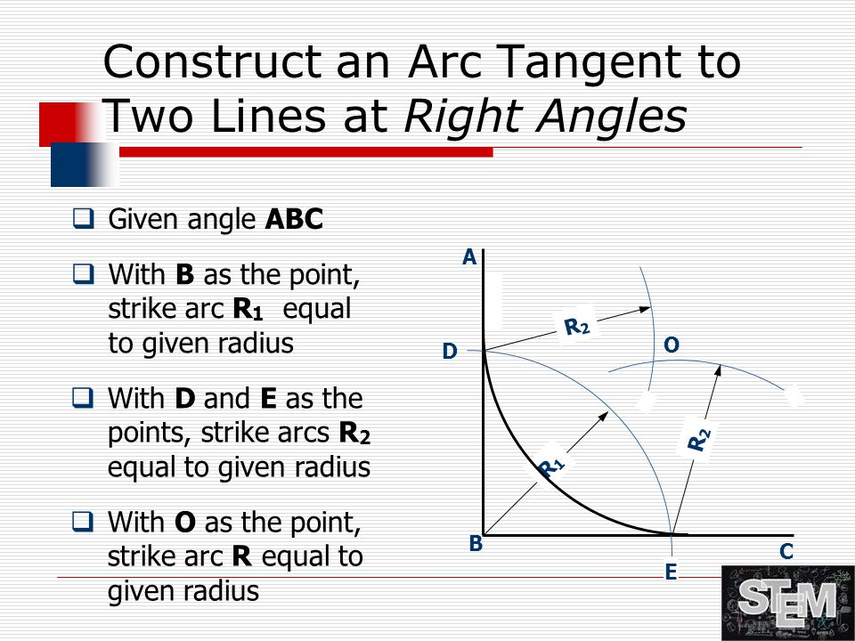 Construct an Arc Tangent to Two Lines at Right Angles