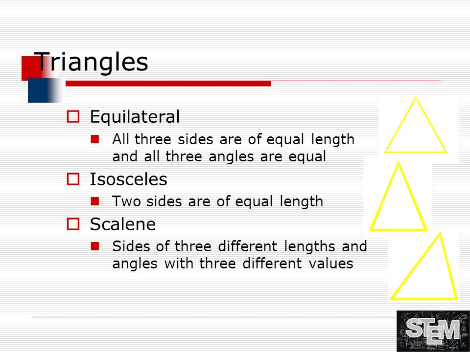 Triangles Equilateral Isosceles Scalene