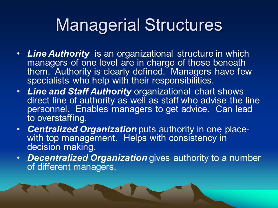 Managerial Structures