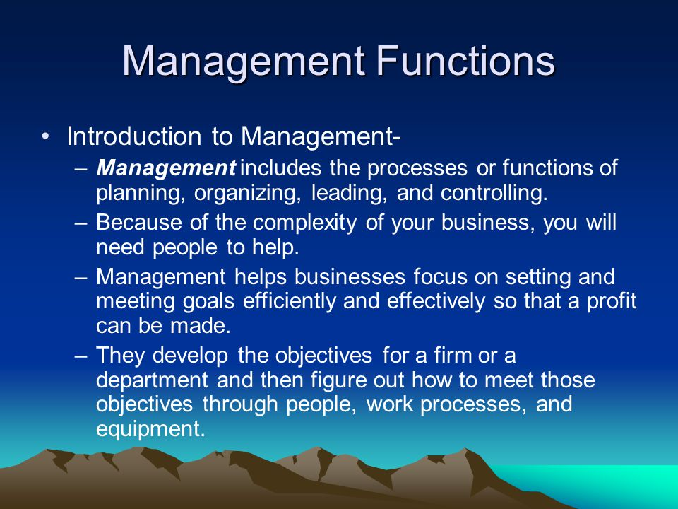 Management Functions Introduction to Management-