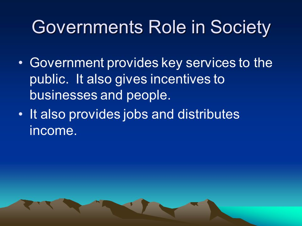 Governments Role in Society