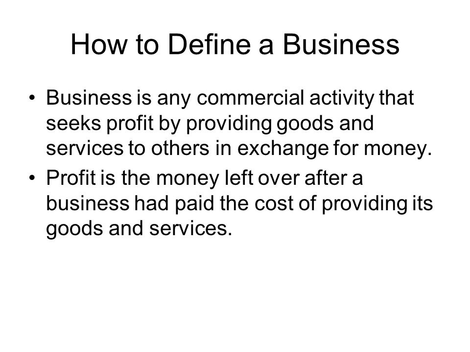 How to Define a Business