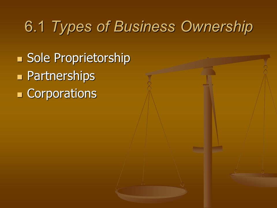 6.1 Types of Business Ownership