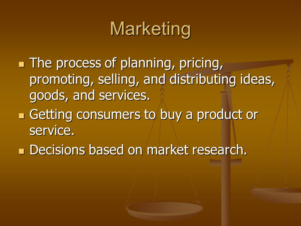 Marketing The process of planning, pricing, promoting, selling, and distributing ideas, goods, and services.