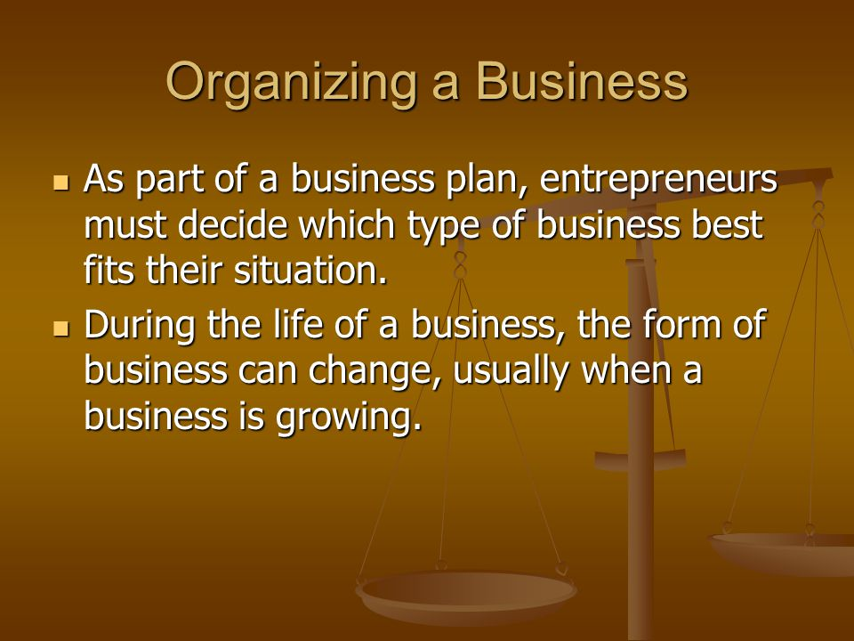 Organizing a Business As part of a business plan, entrepreneurs must decide which type of business best fits their situation.