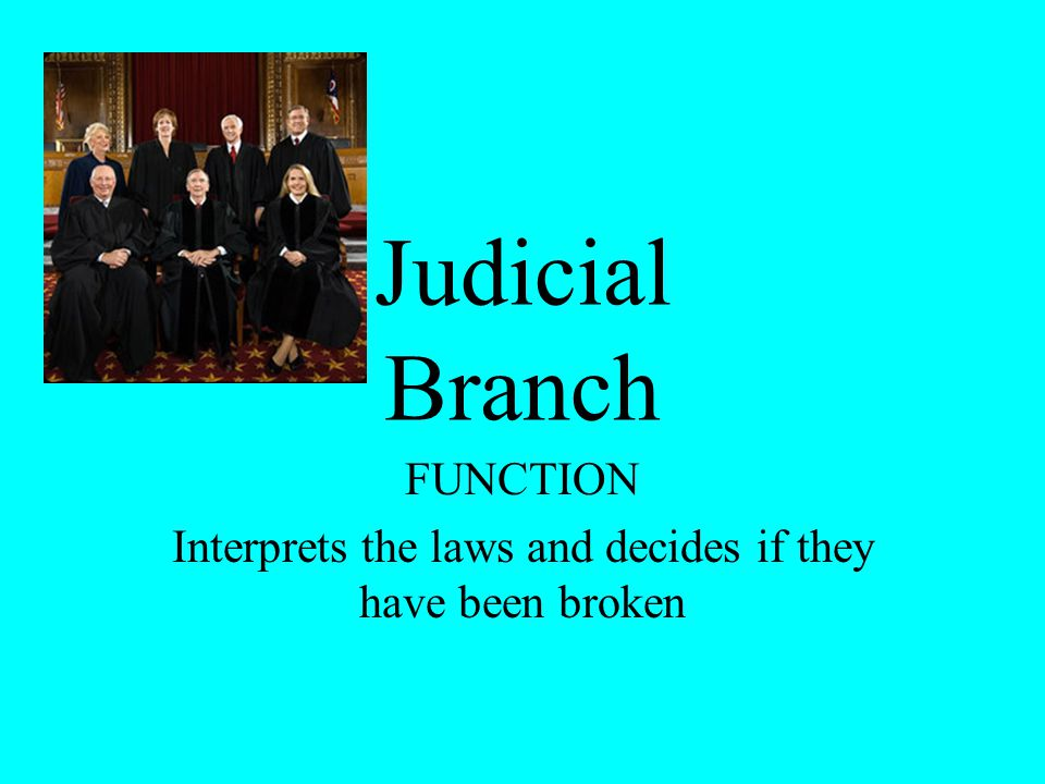 FUNCTION Interprets the laws and decides if they have been broken