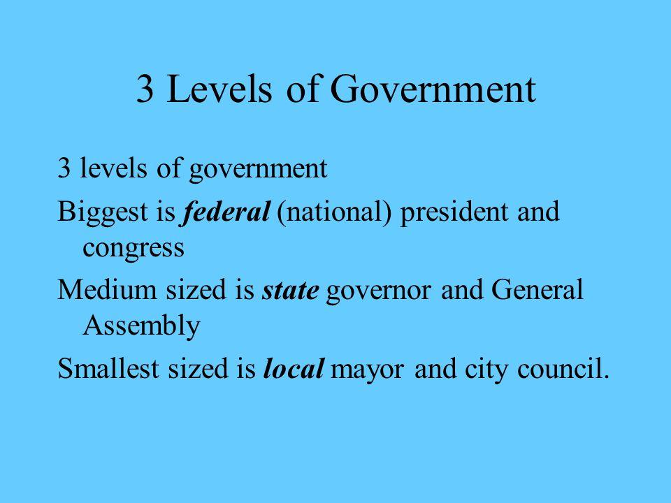 3 Levels of Government 3 levels of government