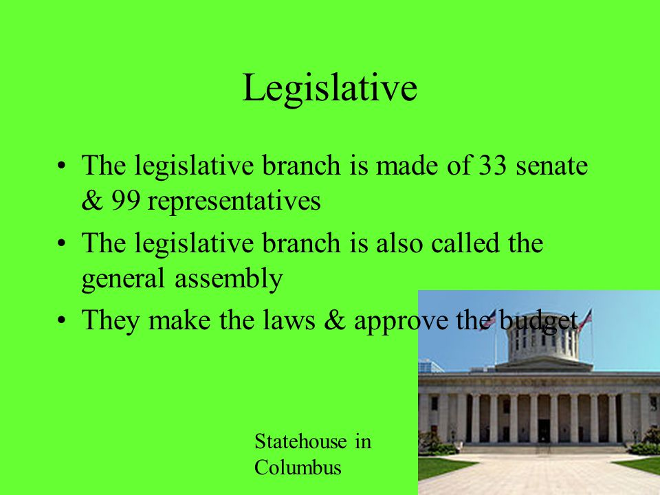 Legislative The legislative branch is made of 33 senate & 99 representatives. The legislative branch is also called the general assembly.
