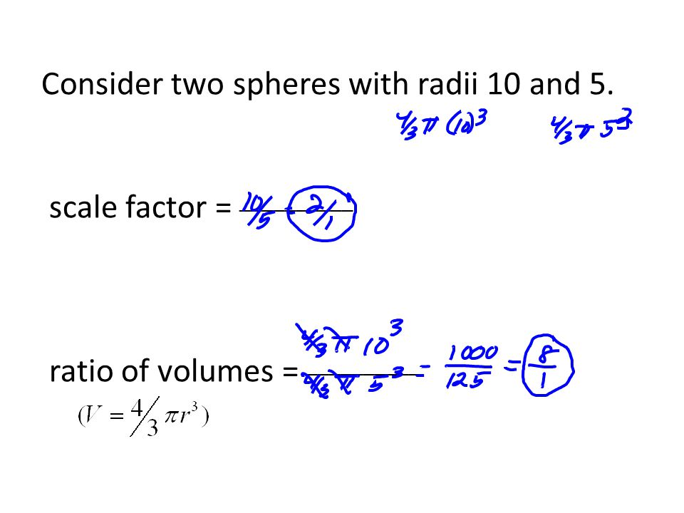 Consider two spheres with radii 10 and 5