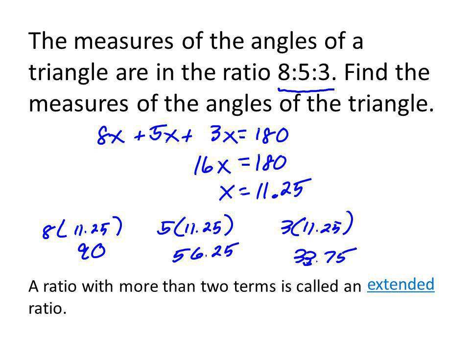The measures of the angles of a triangle are in the ratio 8:5:3