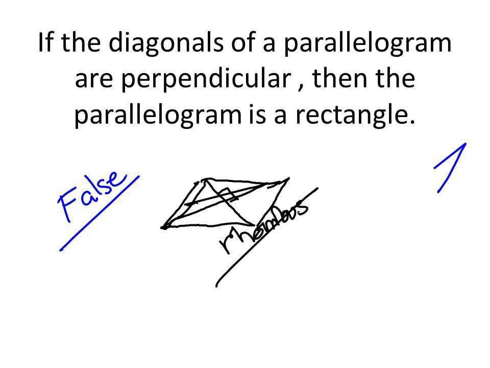 If the diagonals of a parallelogram are perpendicular , then the parallelogram is a rectangle.