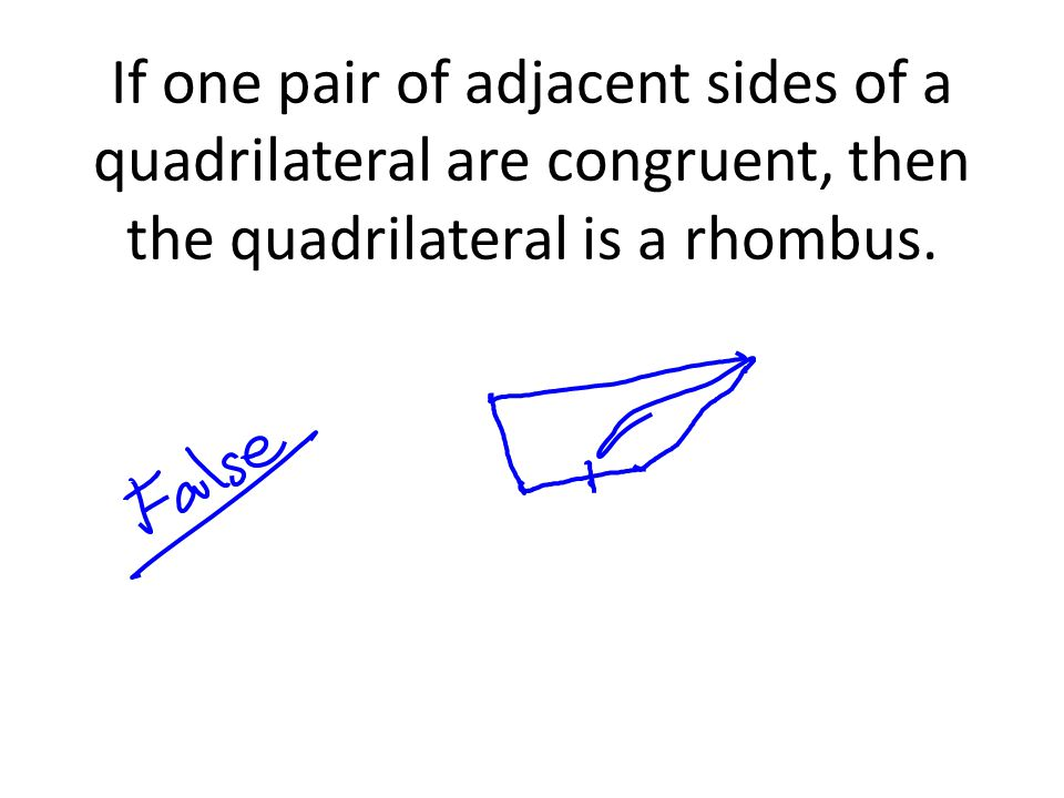 If one pair of adjacent sides of a quadrilateral are congruent, then the quadrilateral is a rhombus.