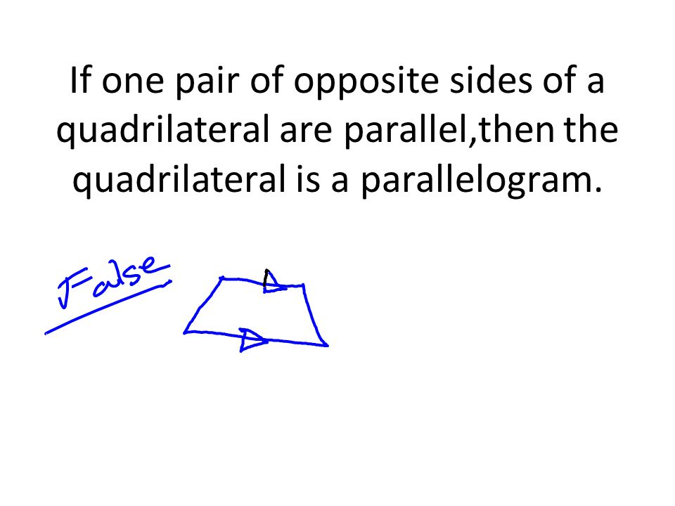 If one pair of opposite sides of a quadrilateral are parallel,then the quadrilateral is a parallelogram.