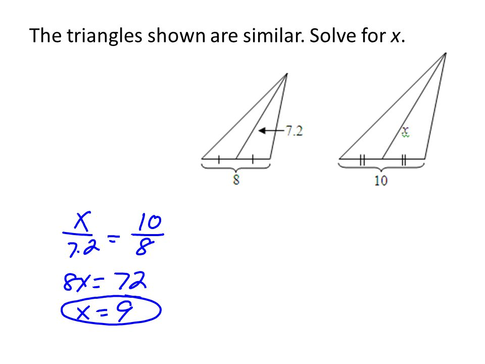 The triangles shown are similar. Solve for x.