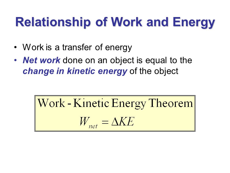 Relationship of Work and Energy