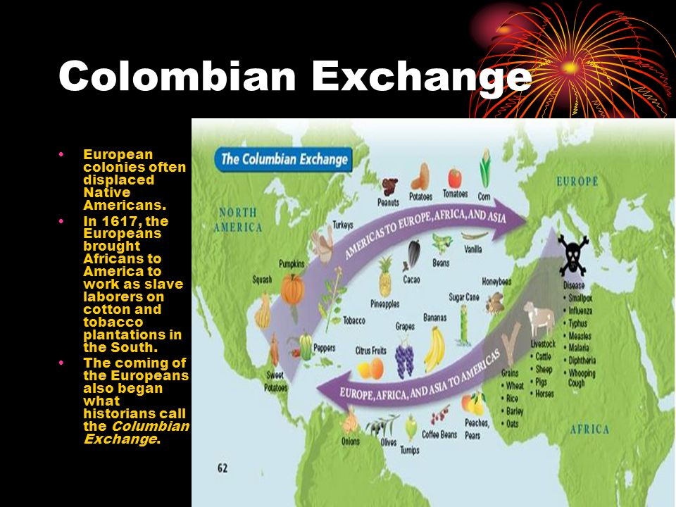 Colombian Exchange European colonies often displaced Native Americans.