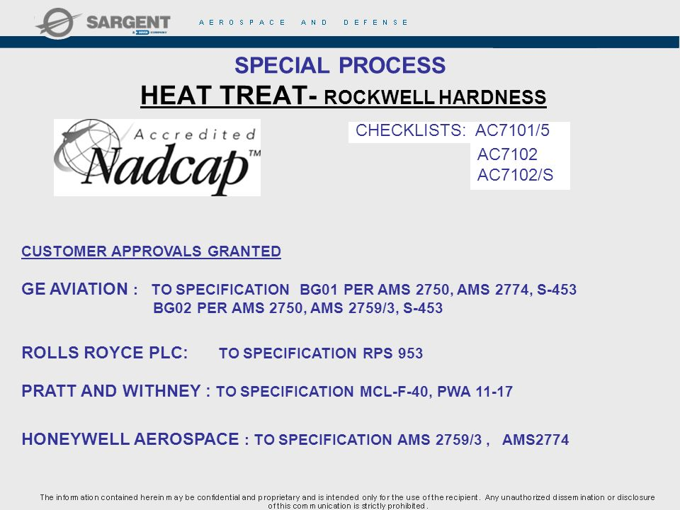 SPECIAL PROCESS HEAT TREAT- ROCKWELL HARDNESS