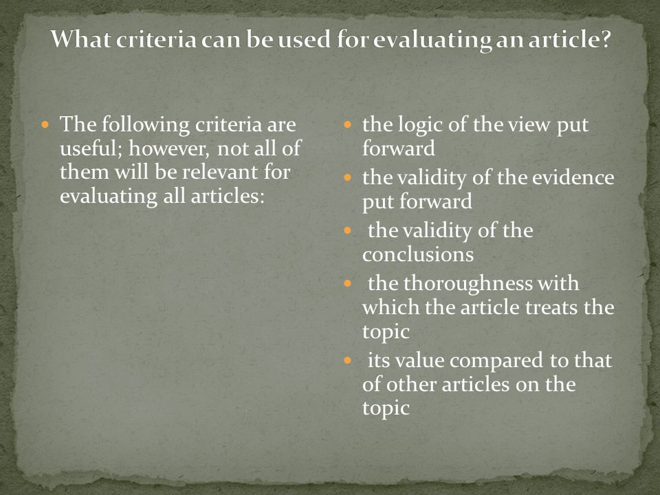 What criteria can be used for evaluating an article