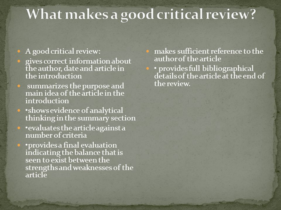 What makes a good critical review