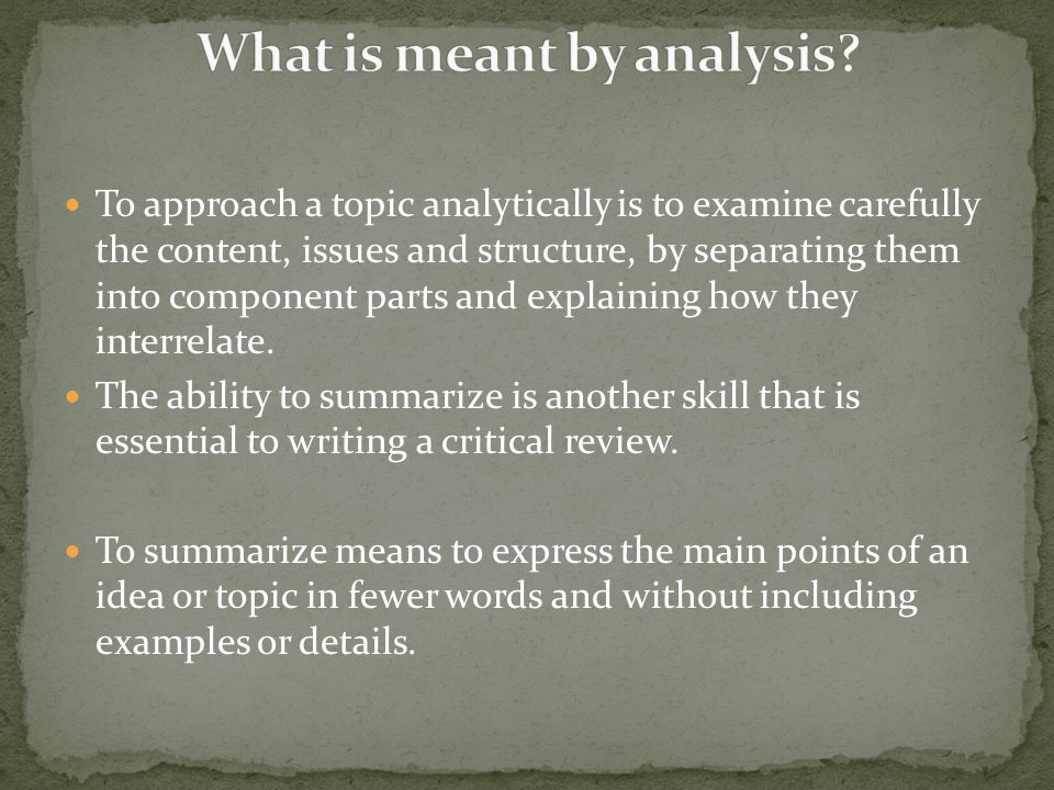 What is meant by analysis
