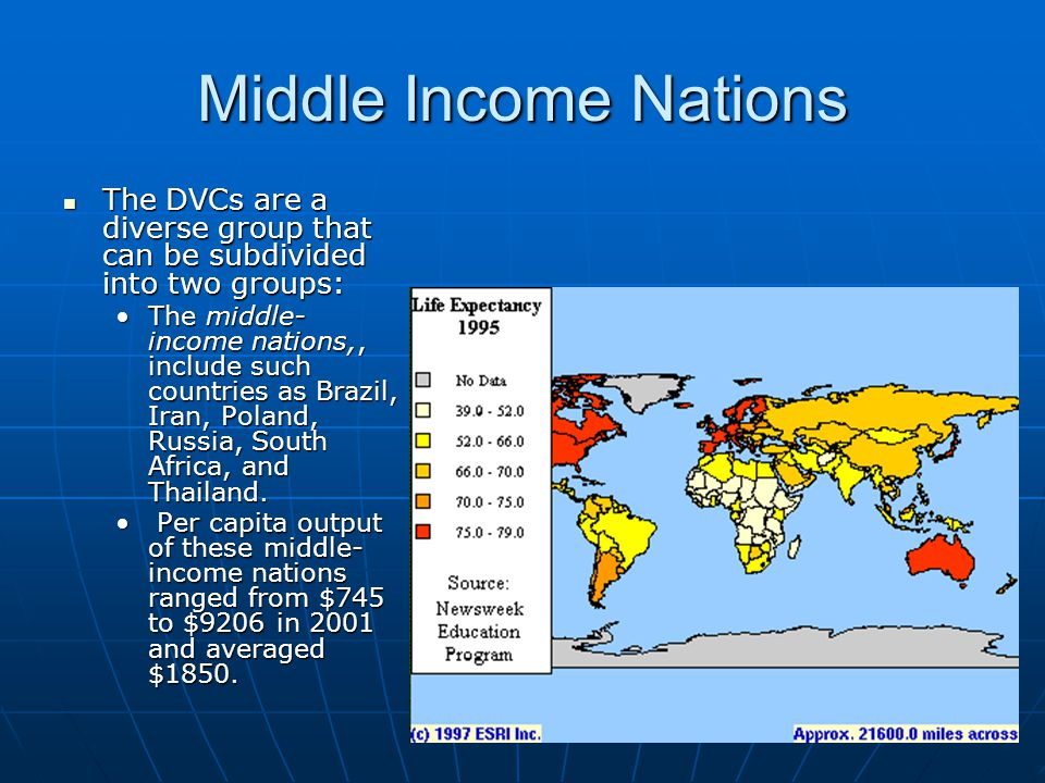 Middle Income Nations The DVCs are a diverse group that can be subdivided into two groups:
