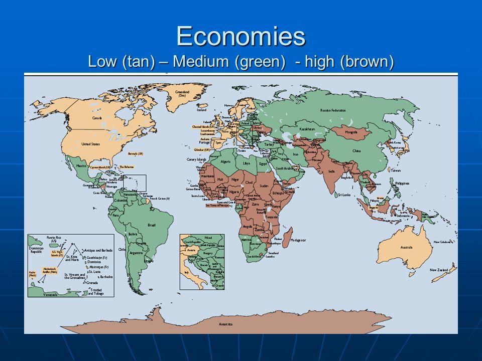 Economies Low (tan) – Medium (green) - high (brown)