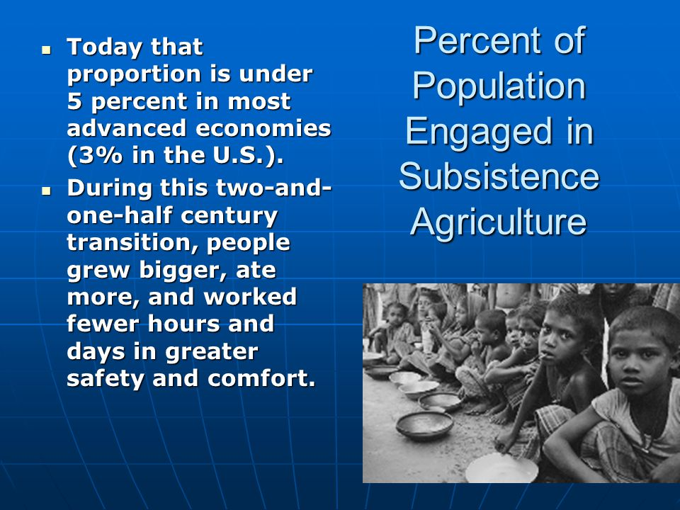 Percent of Population Engaged in Subsistence Agriculture