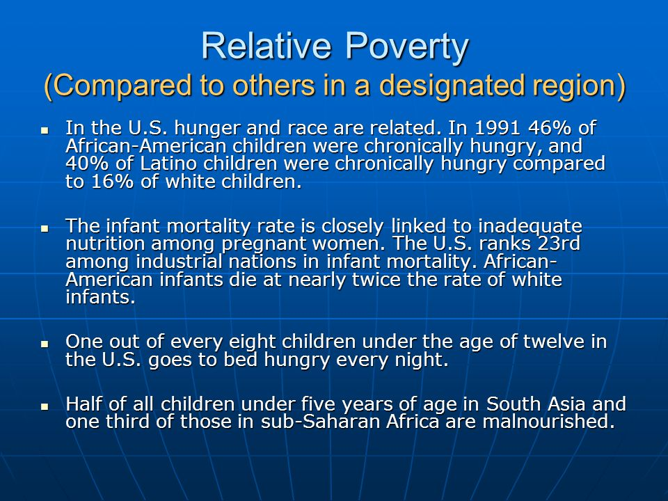 Relative Poverty (Compared to others in a designated region)