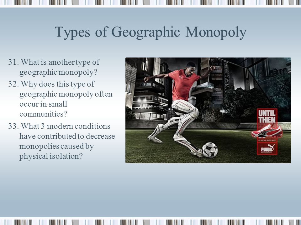 Types of Geographic Monopoly