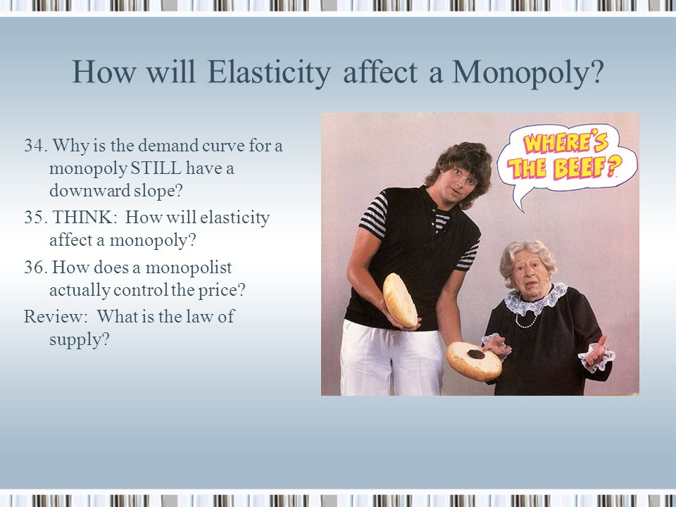 How will Elasticity affect a Monopoly