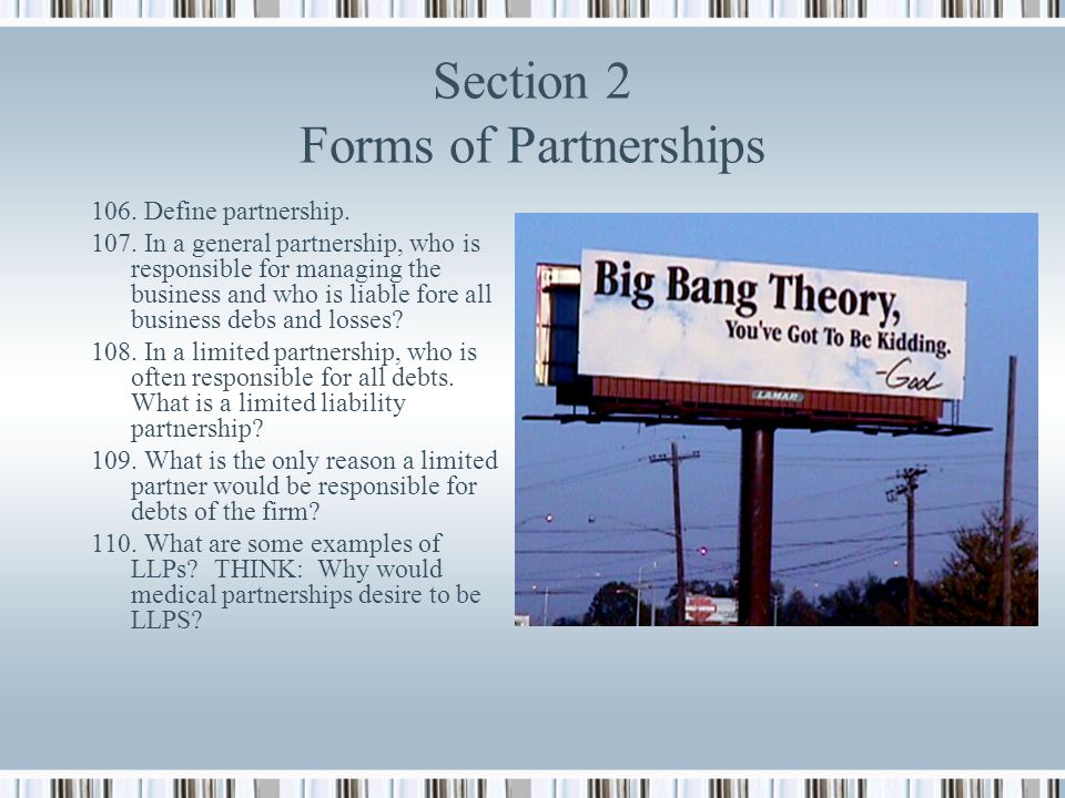 Section 2 Forms of Partnerships