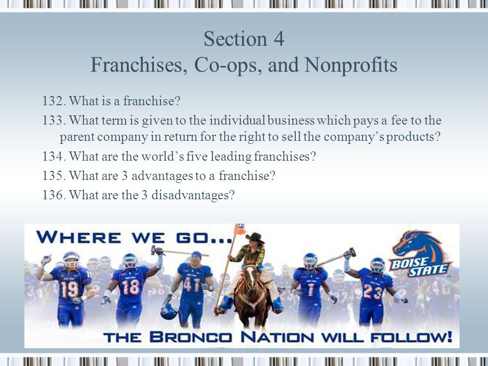 Section 4 Franchises, Co-ops, and Nonprofits
