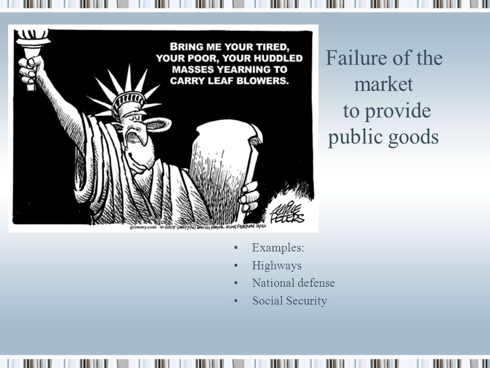 Failure of the market to provide public goods