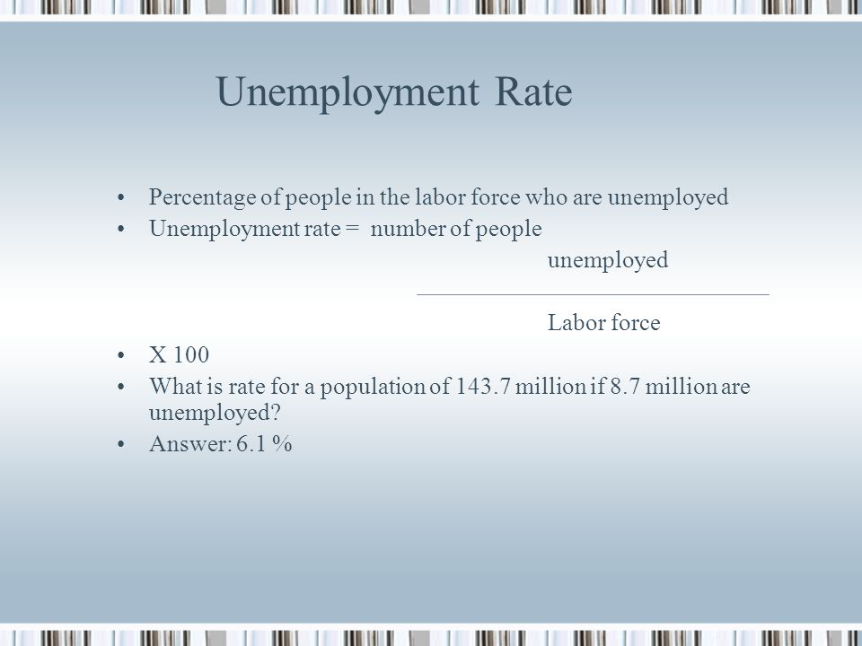 Unemployment Rate Percentage of people in the labor force who are unemployed. Unemployment rate = number of people.