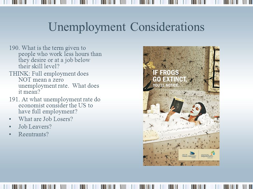 Unemployment Considerations