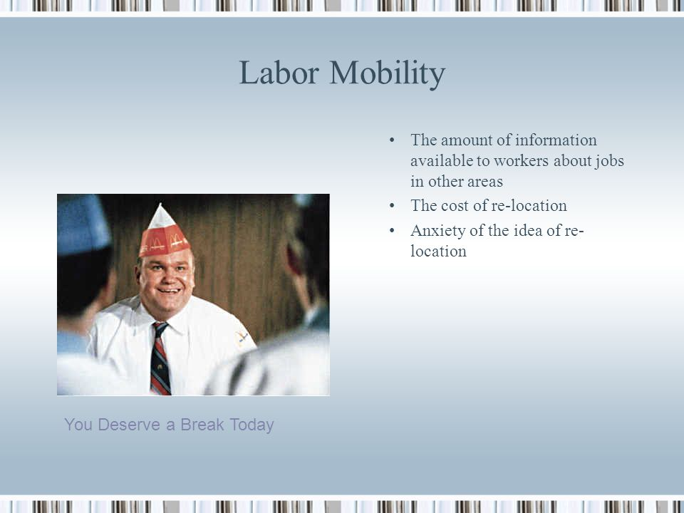 Labor Mobility The amount of information available to workers about jobs in other areas. The cost of re-location.