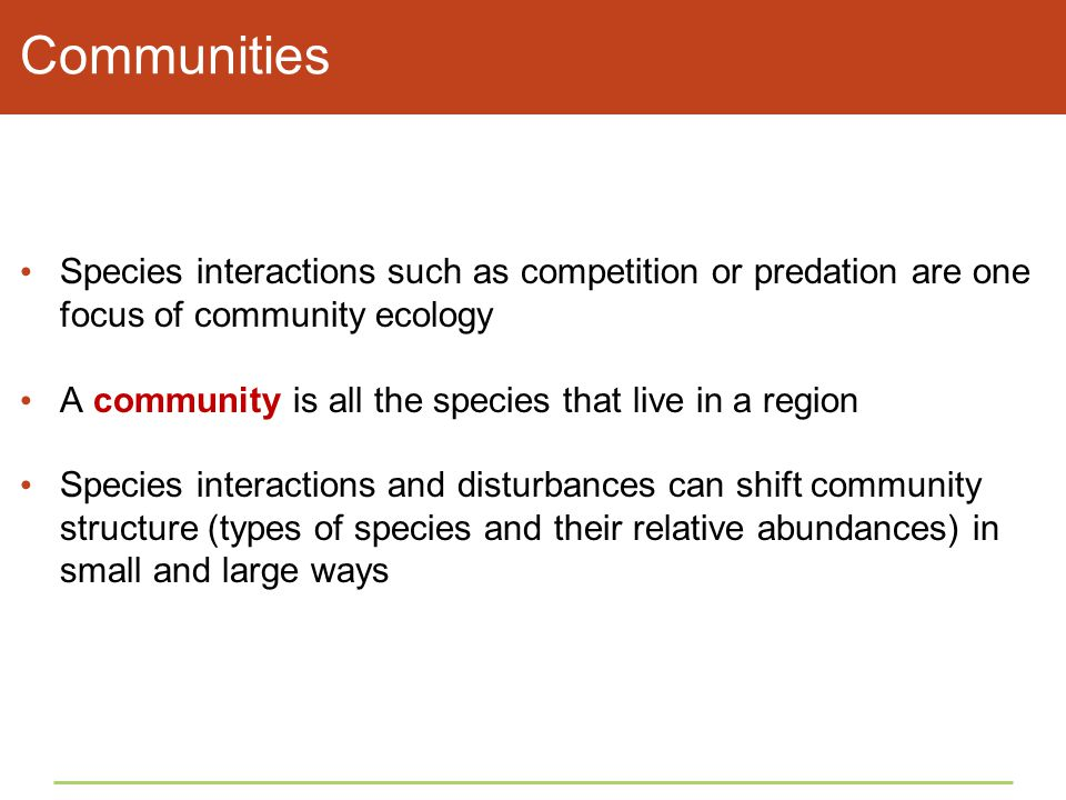 Communities Species interactions such as competition or predation are one focus of community ecology.