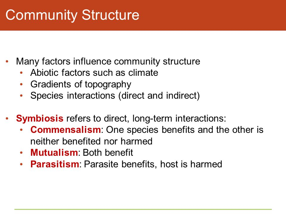 Community Structure Many factors influence community structure