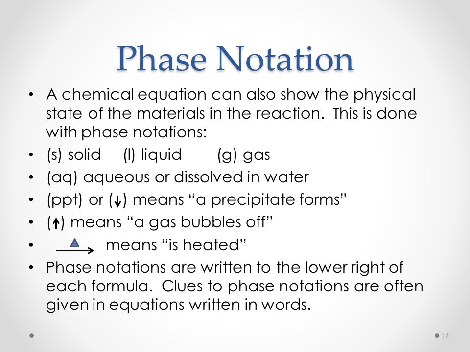 Phase Notation A chemical equation can also show the physical state of the materials in the reaction. This is done with phase notations: