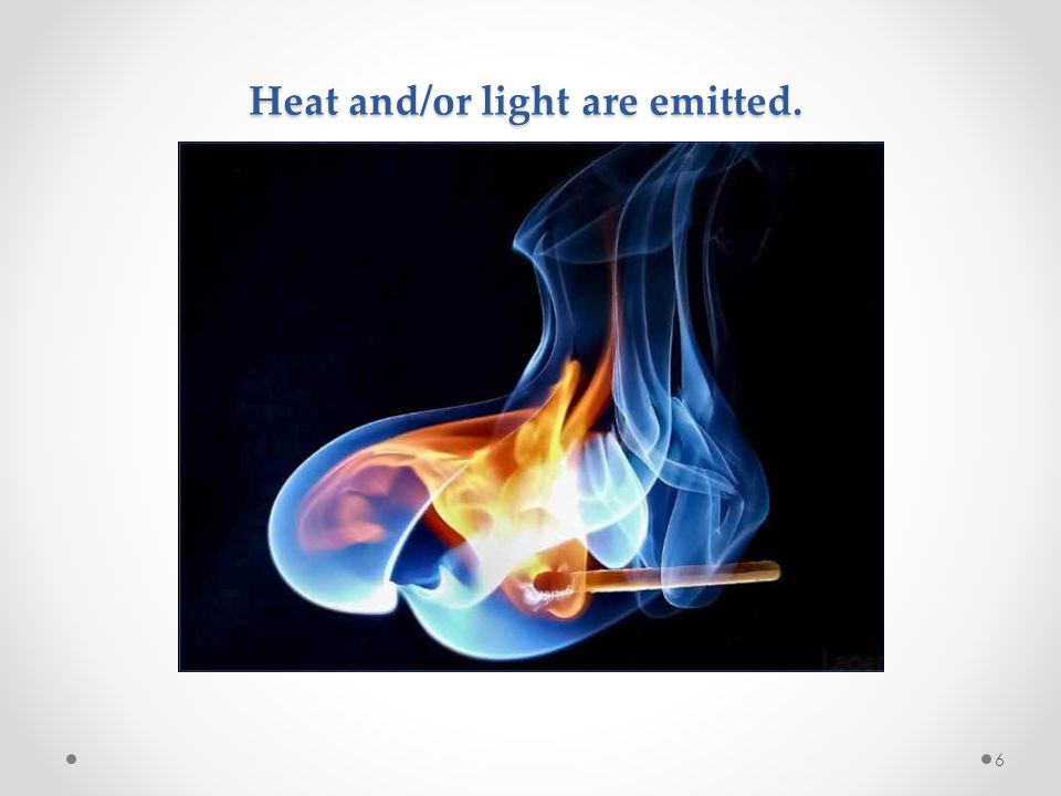 Heat and/or light are emitted.